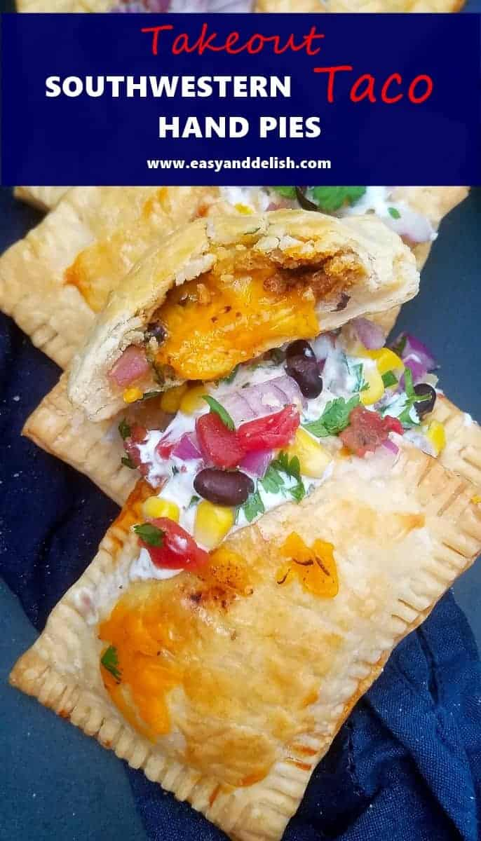 Close up image of Southwestern taco hand pies topped with sour cream and salsa.