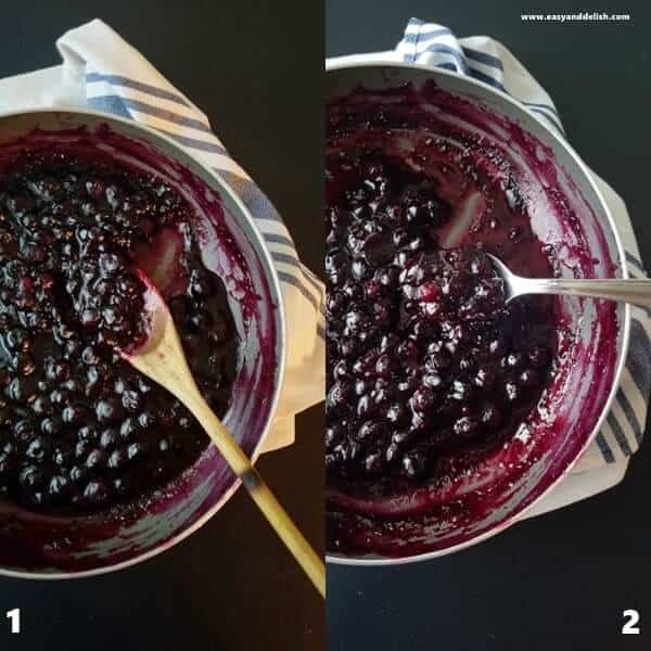 Two combined pictures of blueberry lemon sauce in a saucepan showing the process of how to make the sauce.