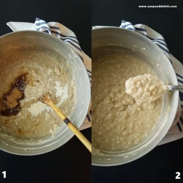 2 combined images, one of a saucepan with oatmeal being mixed with heavy cream and brown sugar and the other showing a spoon full of oatmeal.