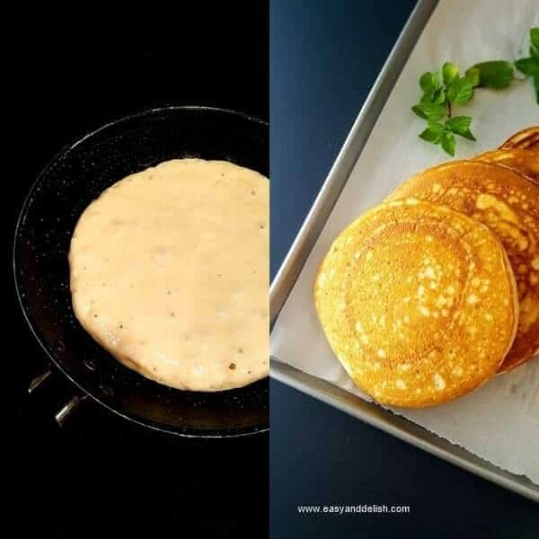 Two combined images showing how to make strawberry shortcake pancakes