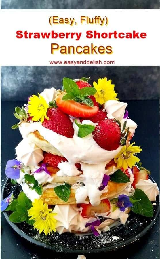 Close up image of a stack of strawberry shortcake pancakes