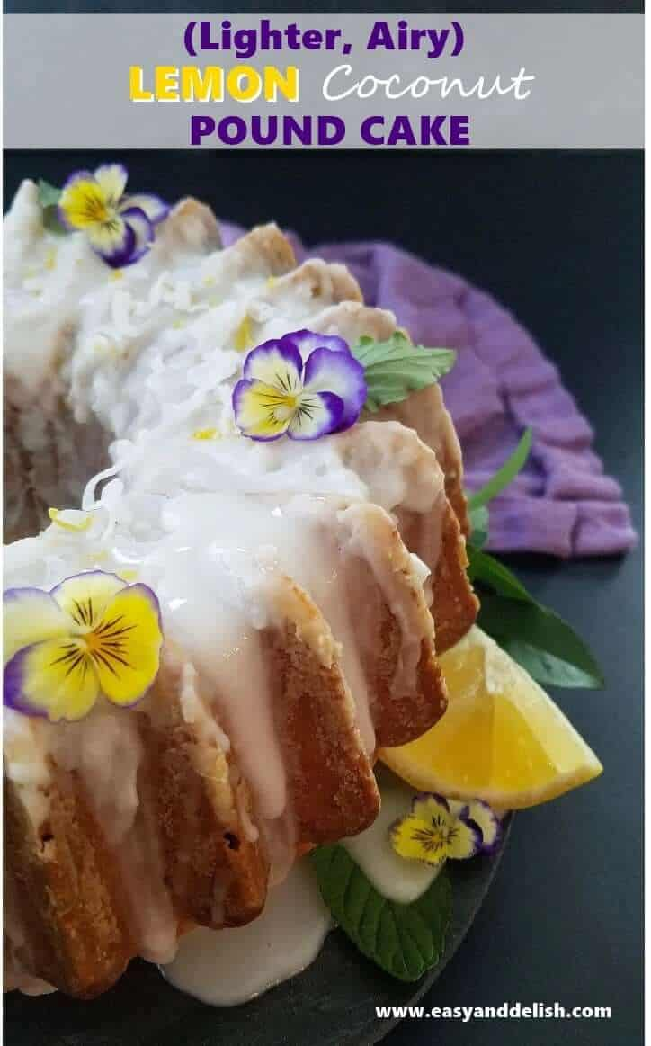 Close up image of coconut pound cake