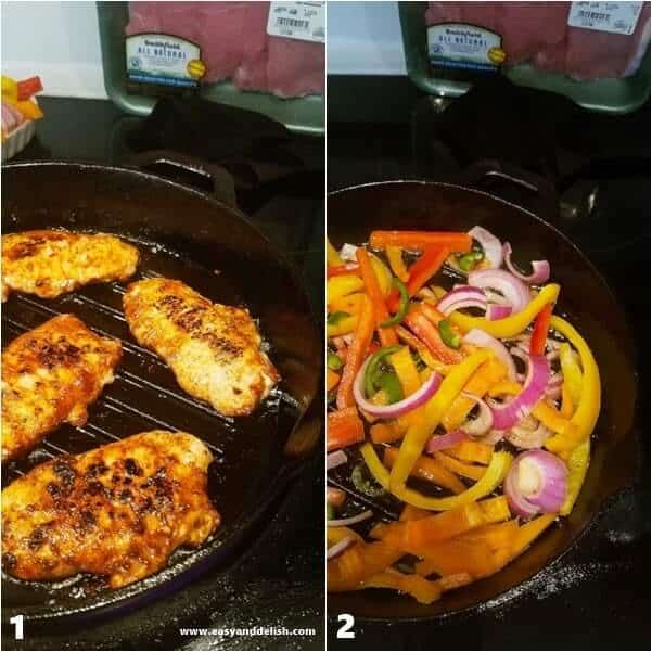 Two images: one of pork chops being cooked in a skillet and the other of vegetables cooked in a skillet