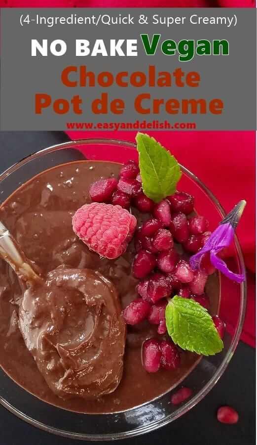 Close up image of a cup of vegan chocolate pot de creme with a spoon.