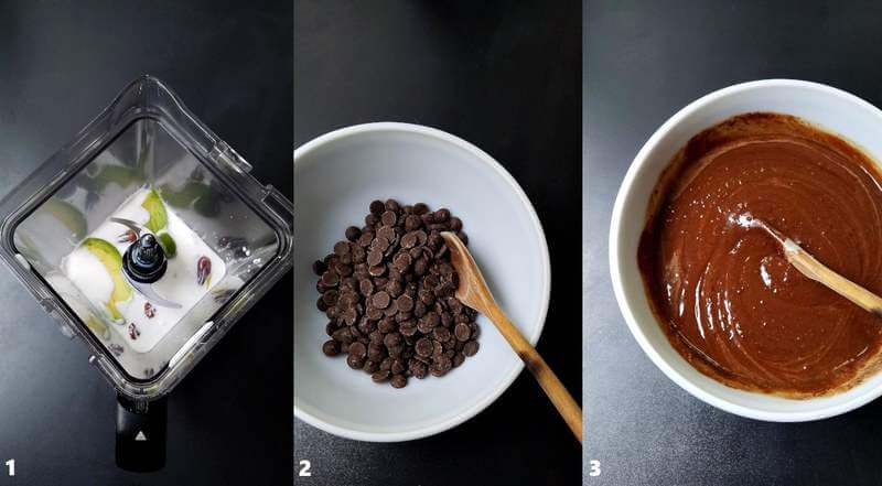Three combined images showing the process of how to make vegan chocolate pot de creme