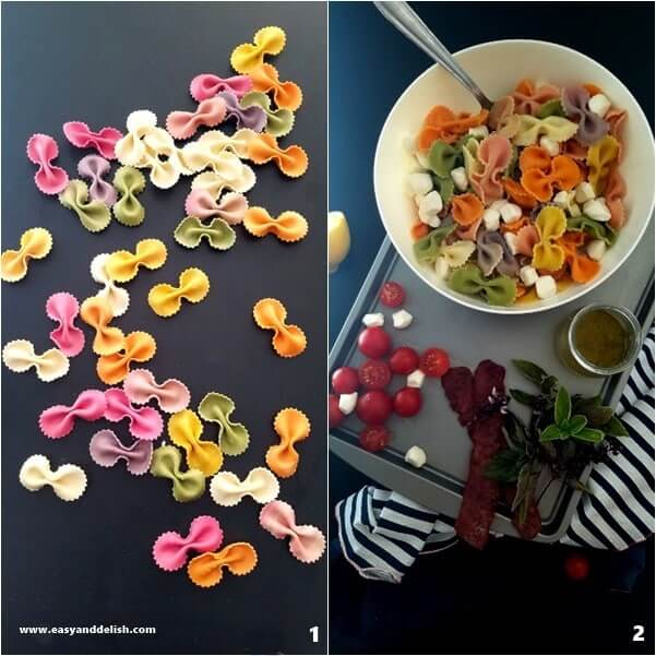 Two combined images showing how to make bacon caprese pasta salad