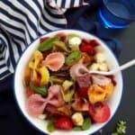6-Ingredient Rainbow Bacon Caprese Pasta Salad