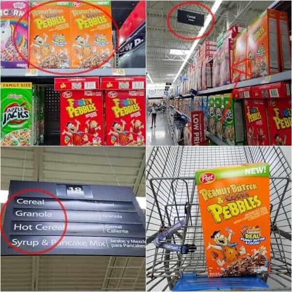 Peanut Butter & Cocoa Pebbles cereal in a Walmart aisle
