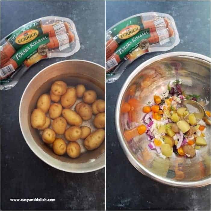 Cooking potatoes and also mixing ingredients of sausage potato salad in a bowl