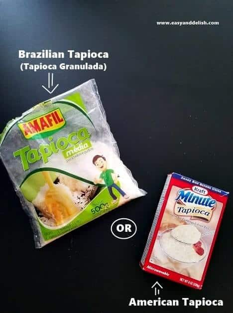 Two packages of tapioca, one American and another Brazilian