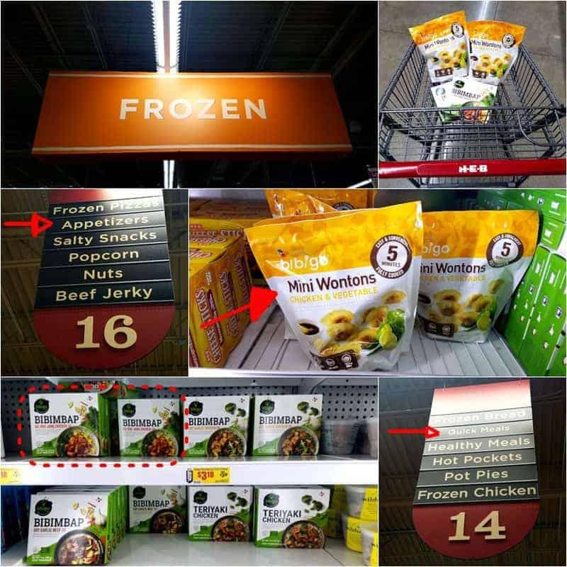 HEB frozen aisles showing where to find Bibigo chicken wonton stir-fry main ingredients