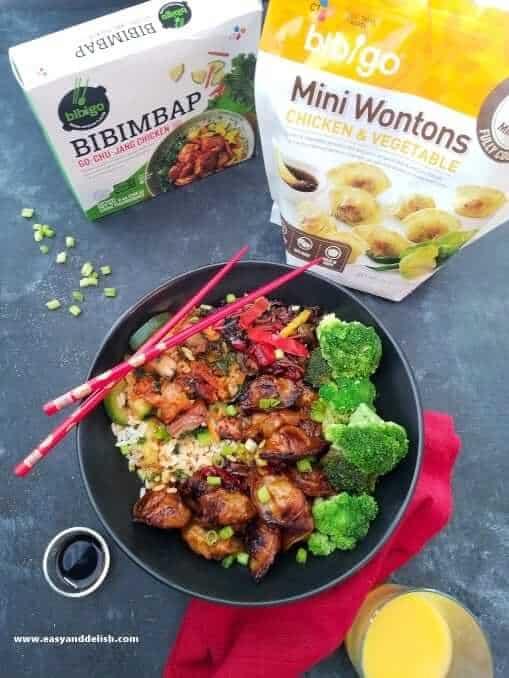 Chicken wonton stir-fry and its 2 main ingredients