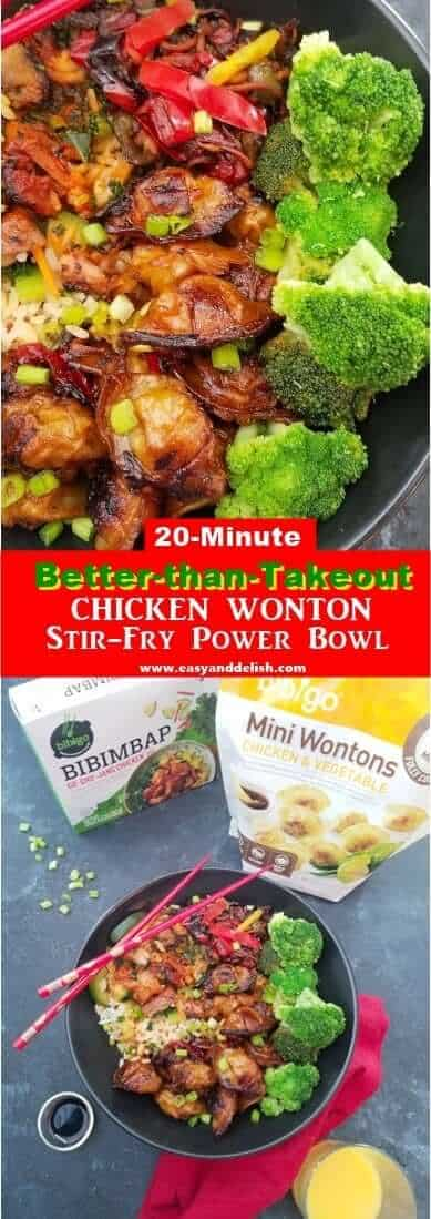 Two combined images showing chicken wonton stir-fry power bowl (great to save on Pinterest)
