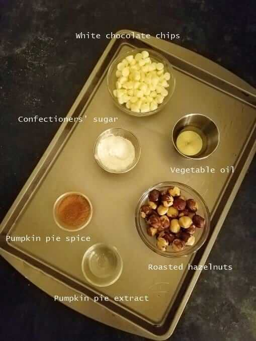 Ingredients of pumpkin spice Nutella in a tray