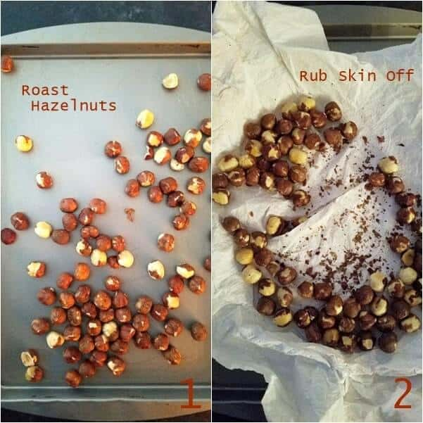 Combined images showing nuts being roasted and also skin being rubbed off.