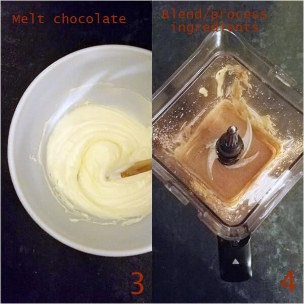 Combined images showing melted chocolate and blended ingredients