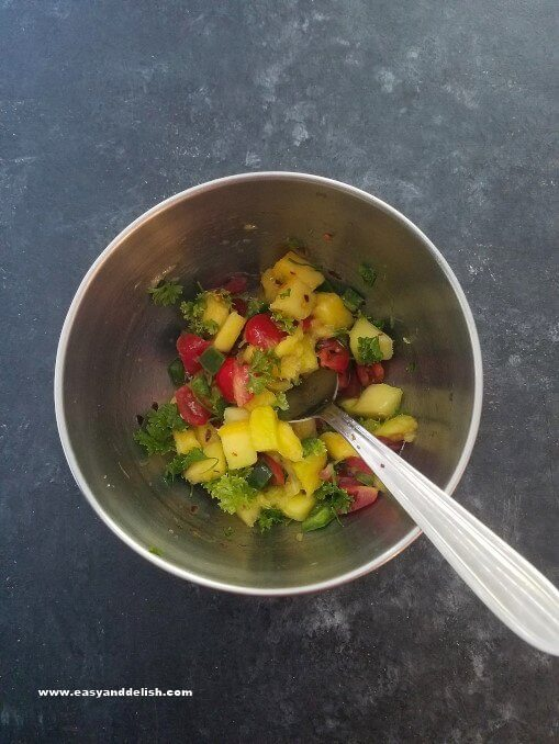 Mango salsa for the turmeric lime chicken