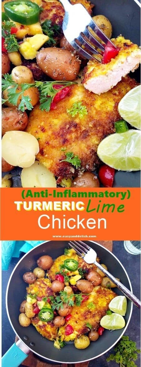 Two combined image with turmeric lime chicken close up on top.