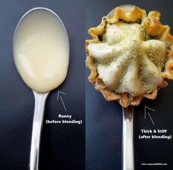 Two combined images showing sweetened condensed milk in a spoon before and after blending