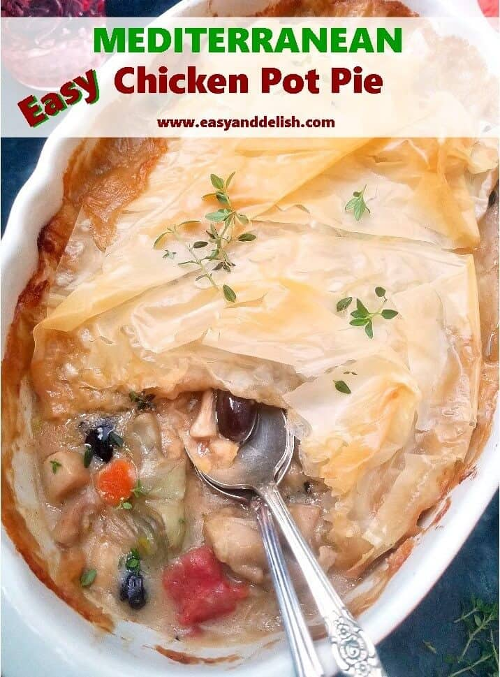 Close up image for Mediterranean chicken pot pie