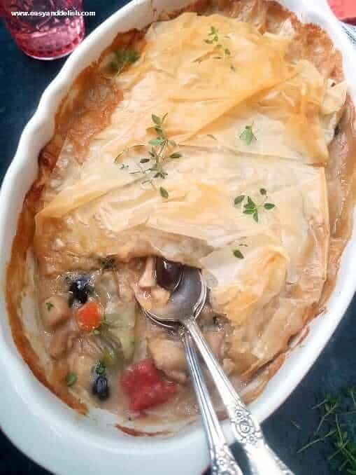 a close up of Mediterranean chicken pie