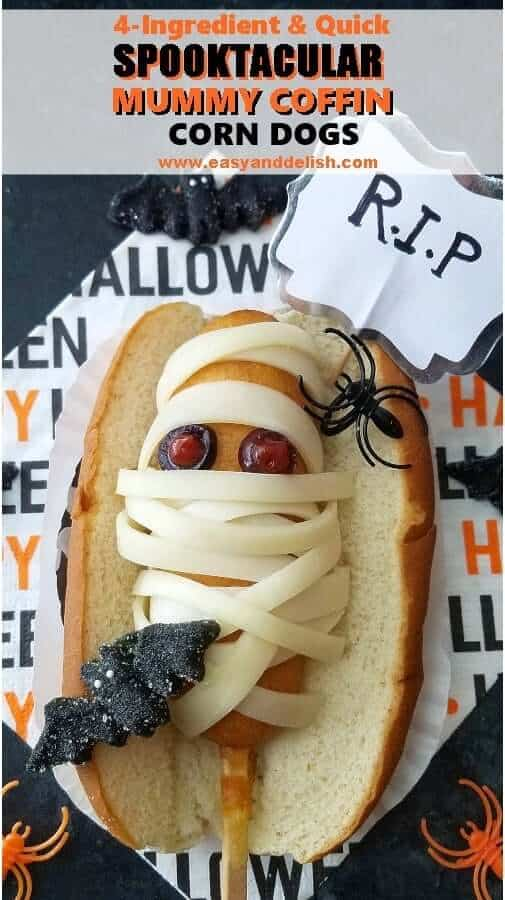 A close up of  Halloween corn dogs