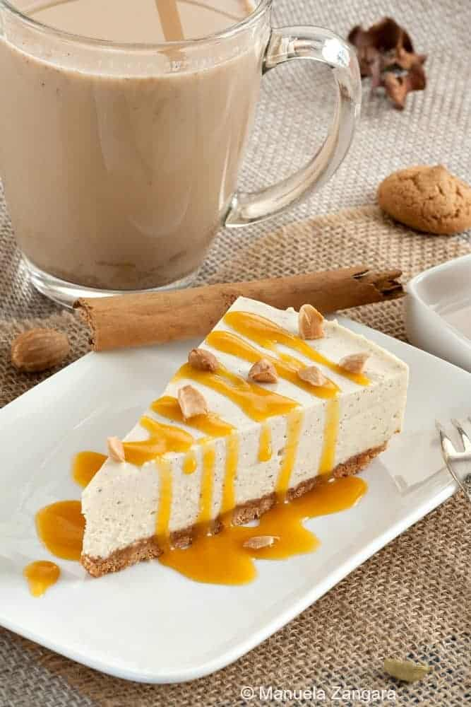 Chai Cheesecake with Pumpkin Sauce , one of the desserts from our October Monthly Meal Plan