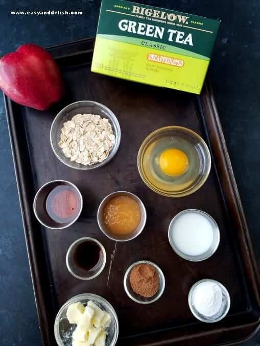 Ingredients of apple spice baked oatmeal in a tray.