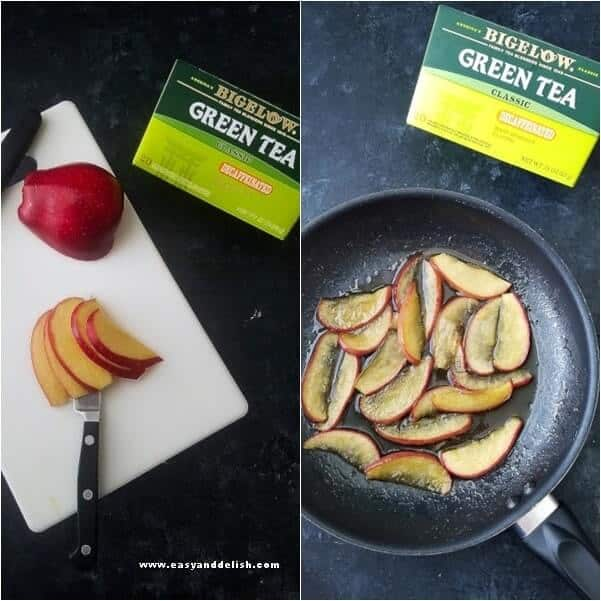 Two combined images showing apples being caramelized.