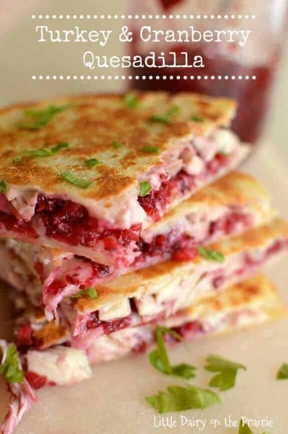 Turkey and cranberry quesadilla from November Monthly Meal Plan