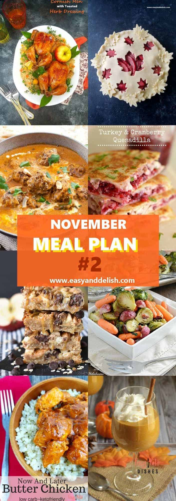 Eight combined images with dishes from November Monthly Meal Plan
