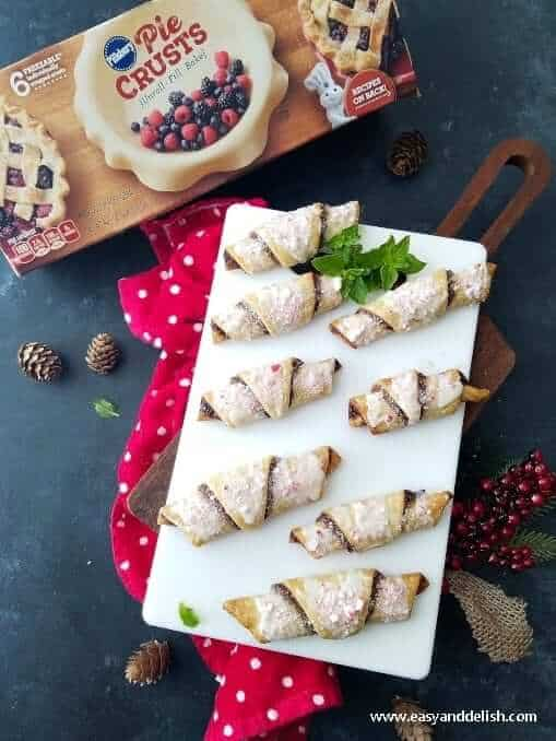 Chocolate Hazelnut Spread cookie roll ups on a tray