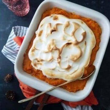 A bowl of sweet potato casserole