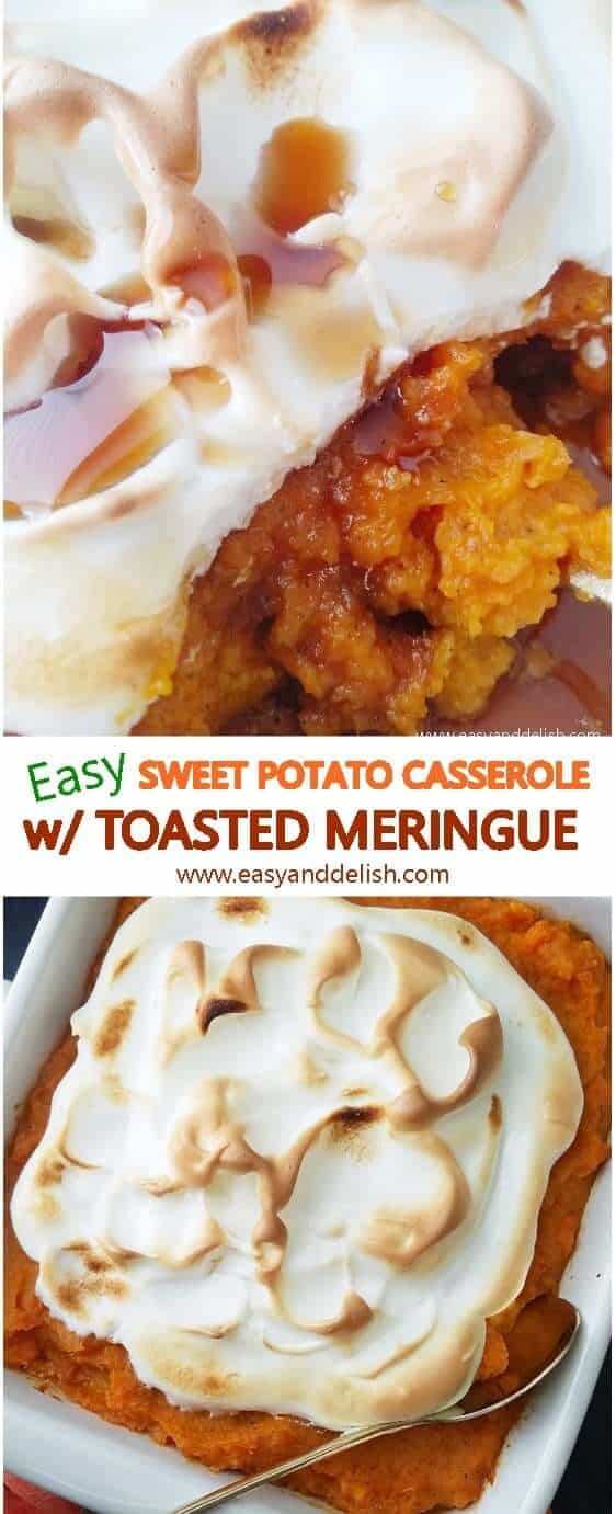 Two combined images of make-ahead sweet potato casserole