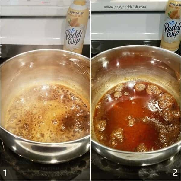 Combined images showing cooking steps to make non-dairy almond caramel pudding