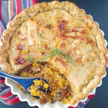 turkey pot pie in a pan
