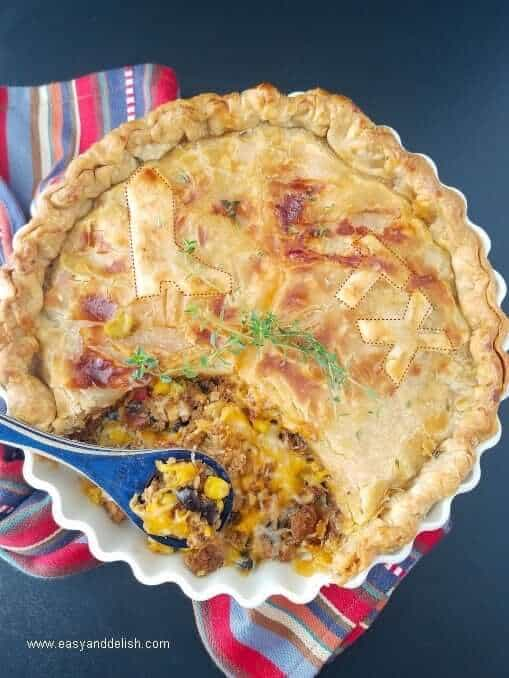 Chili bean turkey pot pie with a slice out