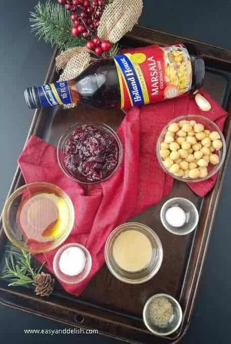 Cranberry hummus dip ingredients in a platter