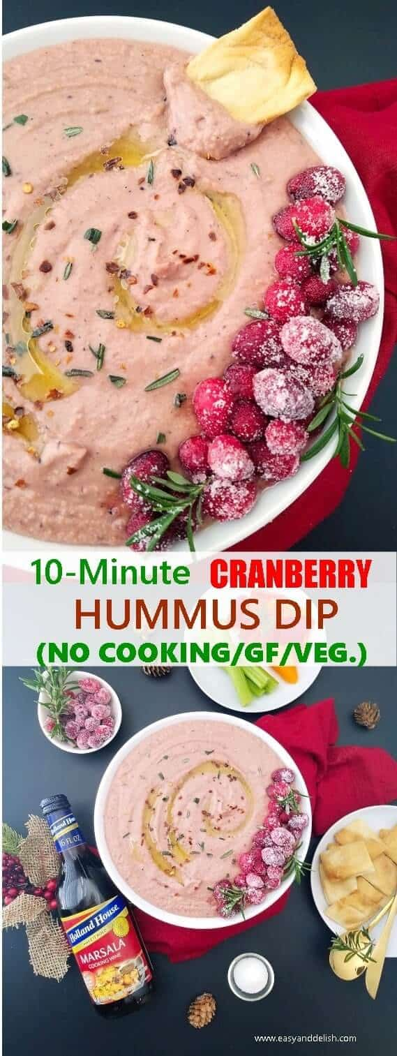 Two combined images showing cranberry hummus dip on a table setting