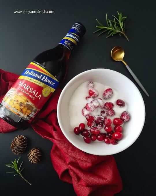 sugared cranberries to be used as garnish for the cranberry hummus dip