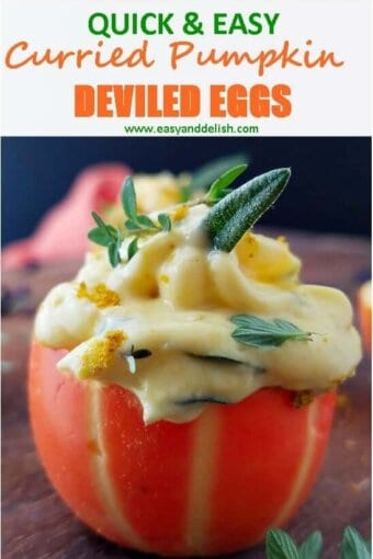 a close up of pumpkin deviled eggs
