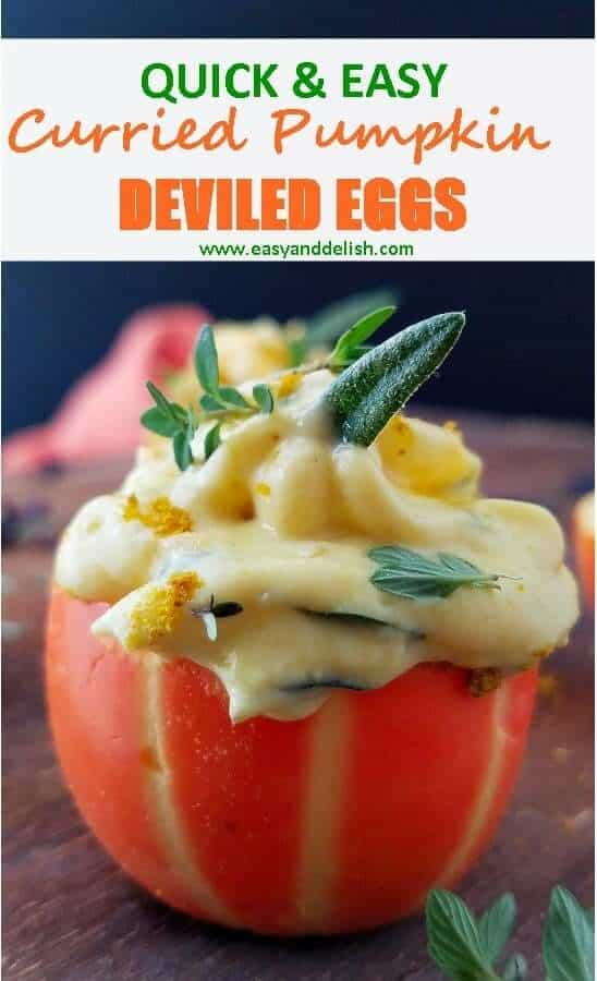 Close up image showing curried pumpkin deviled eggs