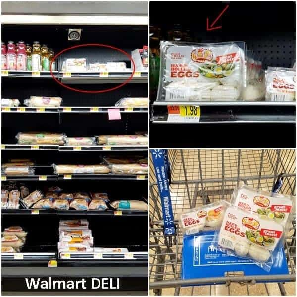 Combined images showing where to find Great Day Farms hard-boiled eggs at Walmart