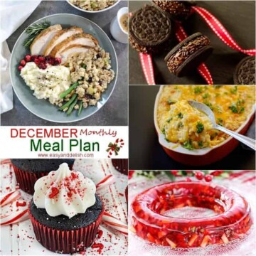 Many different types of food for a December meal plan