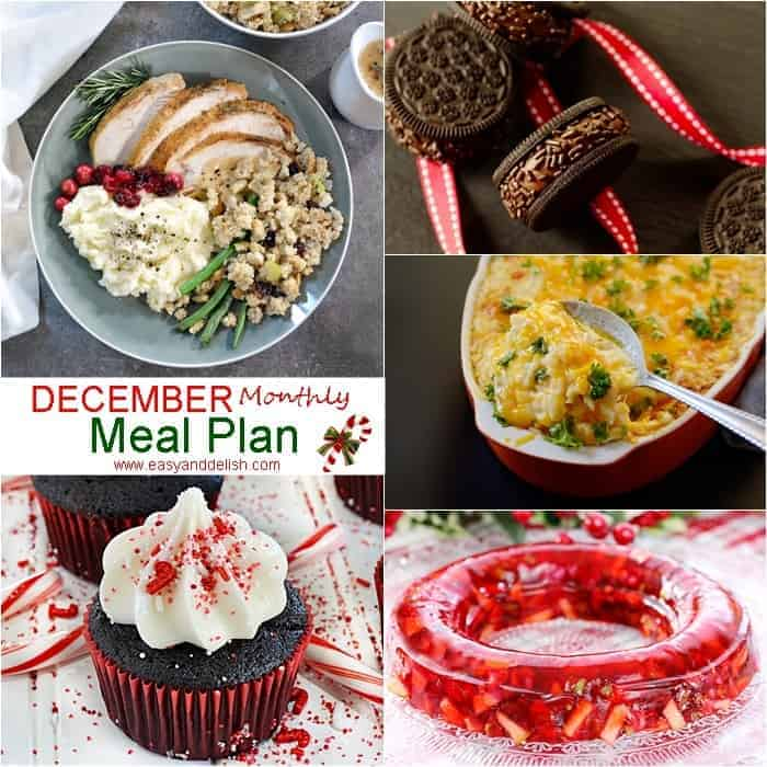 Image showing 5 dishes from December monthly meal plan