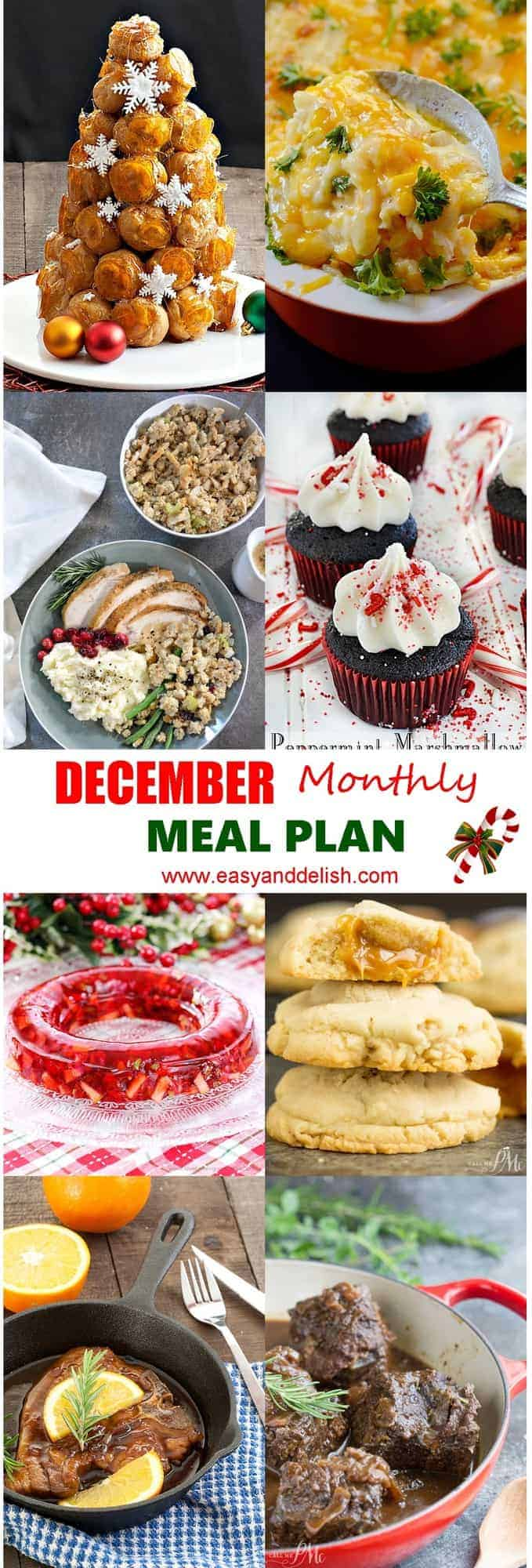 Image showing 8 dishes from December monthly meal plan