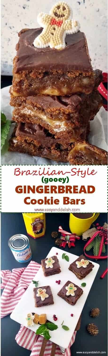 Two combined images showing gingerbread cookie bars both piled up and on a platter