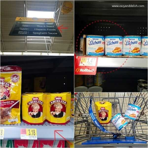 four combined images showing Walmart treat ingredients on shelves