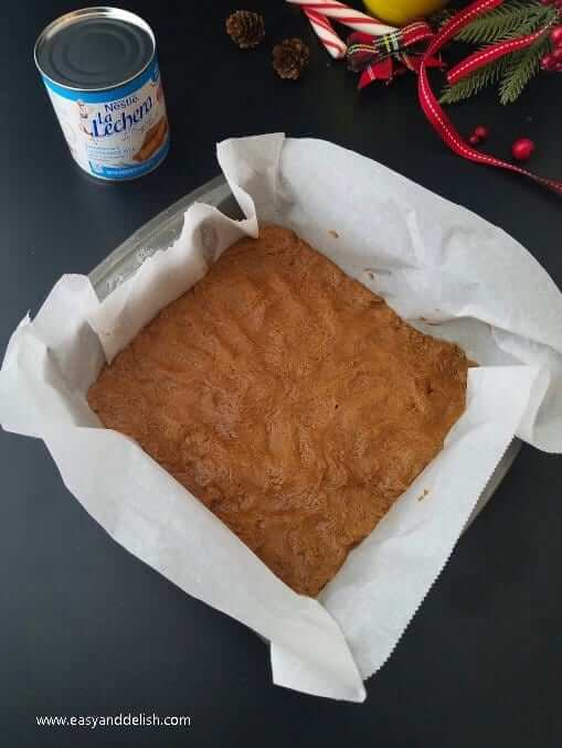 Layering cookie batter into baking pan