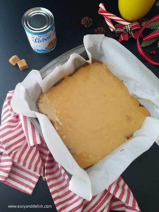 layering filling into pan